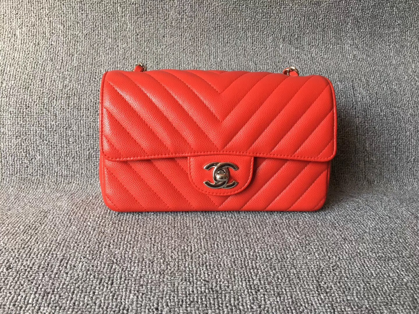 AUTH NEW CHANEL RED PINK CHEVRON CAVIAR LARGE MINI 20CM RECTANGULAR FLAP BAG NEW