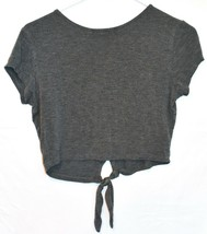 Lulus Women's Taking Chances Heathered Gray Knot Crop T-Shirt Top Size S image 2