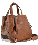 New Burberry $1000 Brown Leather Nova Check Small MAIDSTONE Crossbody Ba... - $751.41