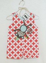 MudPie Monkey Shortall Red White Flower Geometrical Design Size 0 to 6 Months image 1