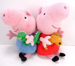 """Set Of 2 Peppa Pig Plush Stuffed Doll Peppa And George Holding Toys TY 7"""" - $11.87"""