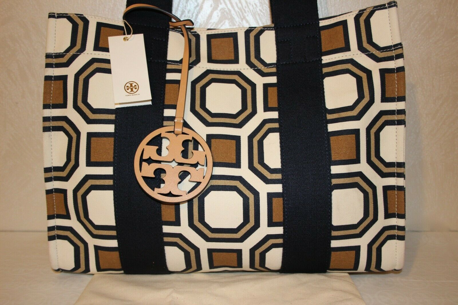Tory Burch New Ivory Octagon Print Square Large Tote Bag