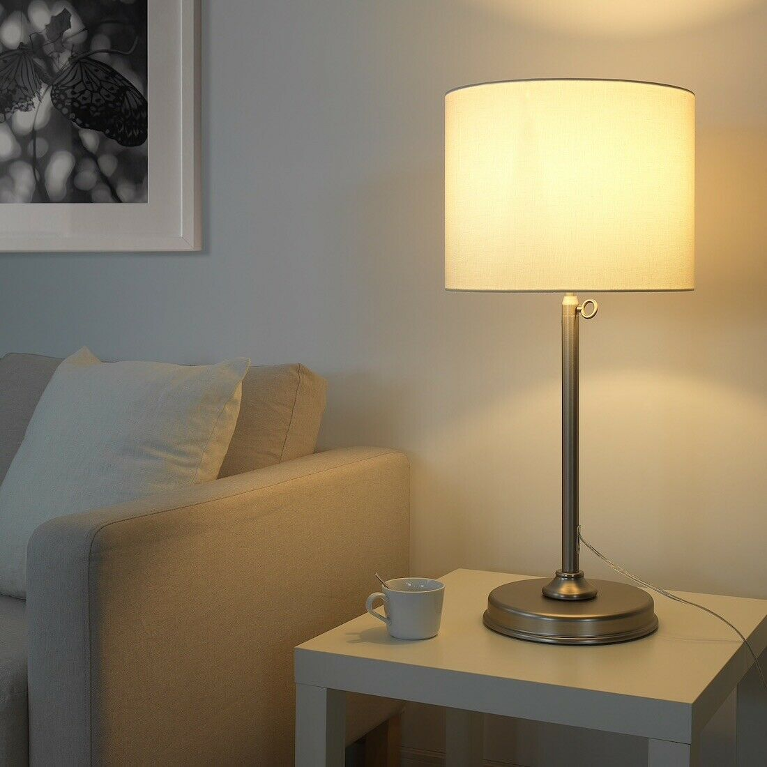 IKEA MILLERYR Table lamp, white, nickel plated (adjustable) image 2