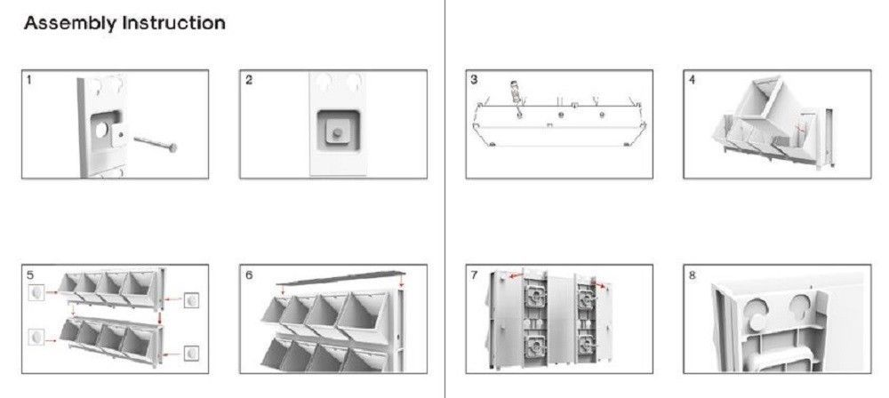 Modular Wall Mounted Planter System: 8 Planters for Herbs, Flowers, Vegetables