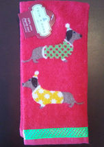 DOG PUPPY FINGERTIP TOWEL Dachshund Dogs Red NEW - $4.99