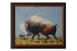 Ansavv Ferocious Bull Multicolor Oil On Canvas Painting - $125.00
