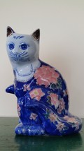 Vintage Hand Painted Chinese Porcelain Cat Figurine with Blue and Pink a... - $54.45