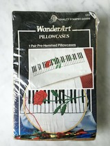 Caron WonderArt Piano Rose Stamped Embroidery Pillowcases - Set of 2 - $14.20