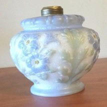 "Vintage Hurricane Lamp Round Globe Blue with Embossed Floral Design 4 1/4"" - $34.24"
