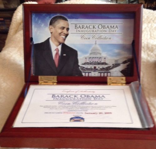 Barack Obama Inauguration Day 1/20/2009 Coin Collection, Limited Treasures, Wood