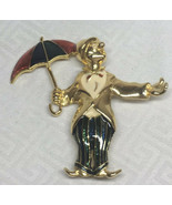 Vintage Ciro Enamel Clown Holding An Umbrella Brooch Pin Gold Tone AL04 - $77.29