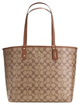 Coach Reversible City Tote  In Signature W POUCH F 36658 SADDLE or Brown... - $127.70