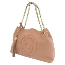 GUCCI Soho Interlocking Chain Shoulder Bag Calf Leather Pink 308982 Auth... - $879.25
