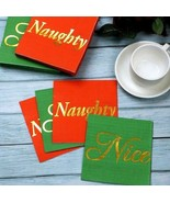 Set of 60 Gold Foil Nice & Naughty Red Green Christmas Paper Napkins, XM... - $25.48