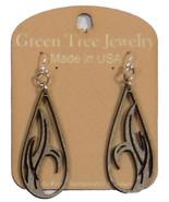 Green Tree Jewelry Grass Blade Drop Grey Wood Wooden Laser Cut Earrings ... - $9.99
