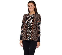 Bob Mackie Long Sleeves Printed Pullover Sweater Knit Brown Multi 3X NEW... - $36.61