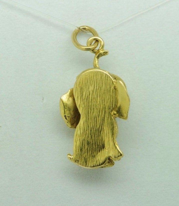 Vintage (ca. 1950) Dumbo 18K Yellow Gold Enamel Elephant Pendant