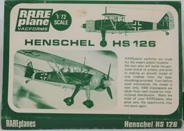 RarePlane 1/72 Scale Vacuform Henschel HS 126 A-1 - $6.75