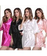 Hot Sale Silk Satin Short Bridesmaid Sleepwear Wedding Pink Robes Women ... - $19.33