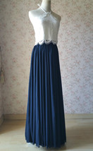 Halter Lace Navy Chiffon Skirt Long Cheap Bridesmaid Dresses Online image 3