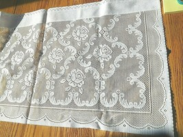 "2 LACE CURTAIN VALANCES WHITE 60"" W x 15"" L ""PROVENCE "" 100% POLYESTER - $6.92"