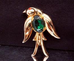 Vintage Coro Pegasus Jelly Belly Brooch Green Rhinestone Bird Gold Tone Pin1940s - $25.00