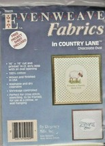 """Evenweave Fabrics in Country Lane - Chocolate Oval - 16"""" X 16"""" 14 Count - NEW - $6.00"""