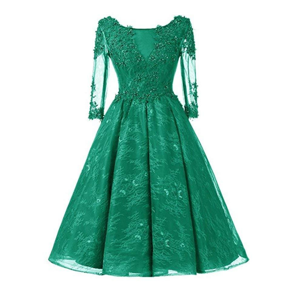 Women Vintage Lace Tea-Length Cocktail Party Dress Half Sleeves Beaded Prom Gown