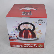 Royal Grafton England Stainless Steel Whistling Kettle Tea Pot 3L Red NIB - $44.55
