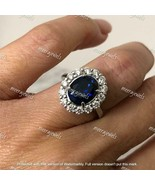 4Ct Oval Brilliant Cut Blue Sapphire Halo Engagement Ring 14K White Gold... - $110.49