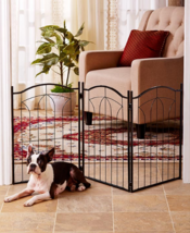 Pet Gates For Dogs Fence Metal Arch 3 Panel Folding Dog Stairway Entrywa... - $42.56