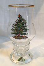 SPODE CHRISTMAS TREE GLASS HURRICANE CANDLE - $25.00