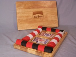 Poker Cards (2 decks Bicycle) Poker Chips (The Marlboro Collection) Wood Case - $15.44