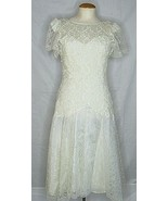 Formal Mid Calf Dress Beige Cream Lace Wedding Prom Swing Small Vintage - $49.47