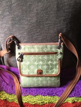 Handbag Fossil Marlow Green Multi Canvas Leather Trim Magnetic Cross Body - $72.44