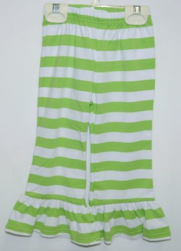 lanks Boutique Girls Lime White Stripe Ruffle Pants Size 18 Months