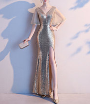 Women Gold Sequin Dress Cap Sleeve High Slit Sequin Maxi Wedding Dress,Plus Size image 4