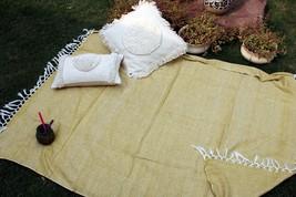 Mustard Color Handloom Chic Blanket, Sofa Throw, Cotton Handmade Throw B... - €53,47 EUR