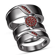 Men's Women's Trio Ring Set In Round Cut Red Garnet Black Gold Finish 925 Silver - $162.98