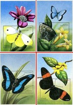 CENTRAL AFRICA 2001 BUTTERFLIES  4 S/S SC#140-03 MNH CV$28.00 INSECTS - $5.20