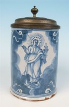 18thC Nuremberg Faience Tankard Madonna & St. Anthony Medal Antique Germ... - $596.26