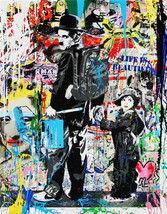Mr Brainwash Alec Monopoly Oil Painting on Canvas Urban Charlie Chaplin ... - $29.69
