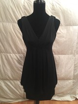 Women's Eliza J Black V-Neck Bubble Hem Sleeveless Dress Size 6 Formal - $24.75