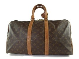 Auth LOUIS VUITTON KEEPALL 45 Monogram Canvas Leather Travel Bag, Boston... - $272.25