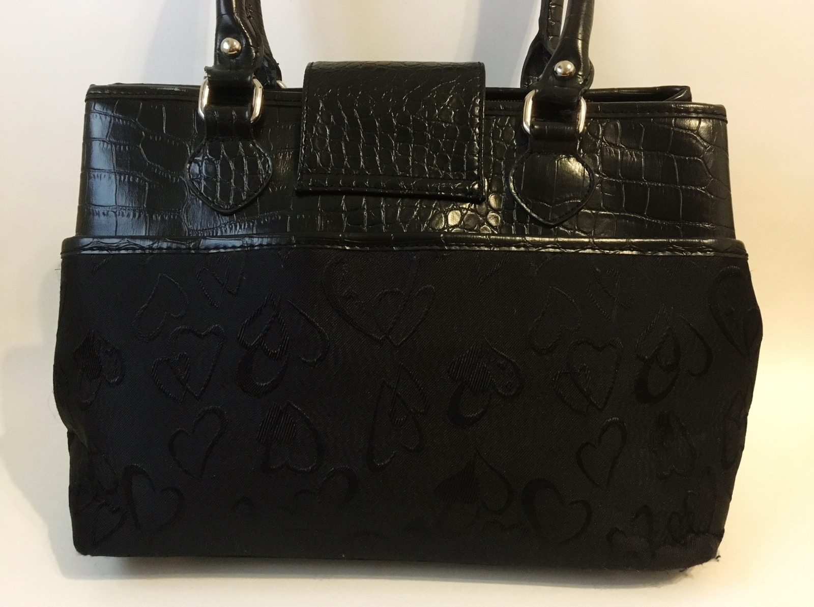 Black Purse Silver Metal Hearts Fabric Faux Croc Leather Handbag Tote Satchel