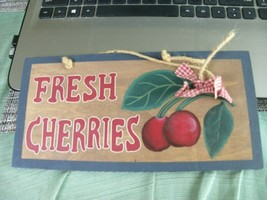 12#H  Fresh Cherries with cherries image wall hanging/sign - $9.02