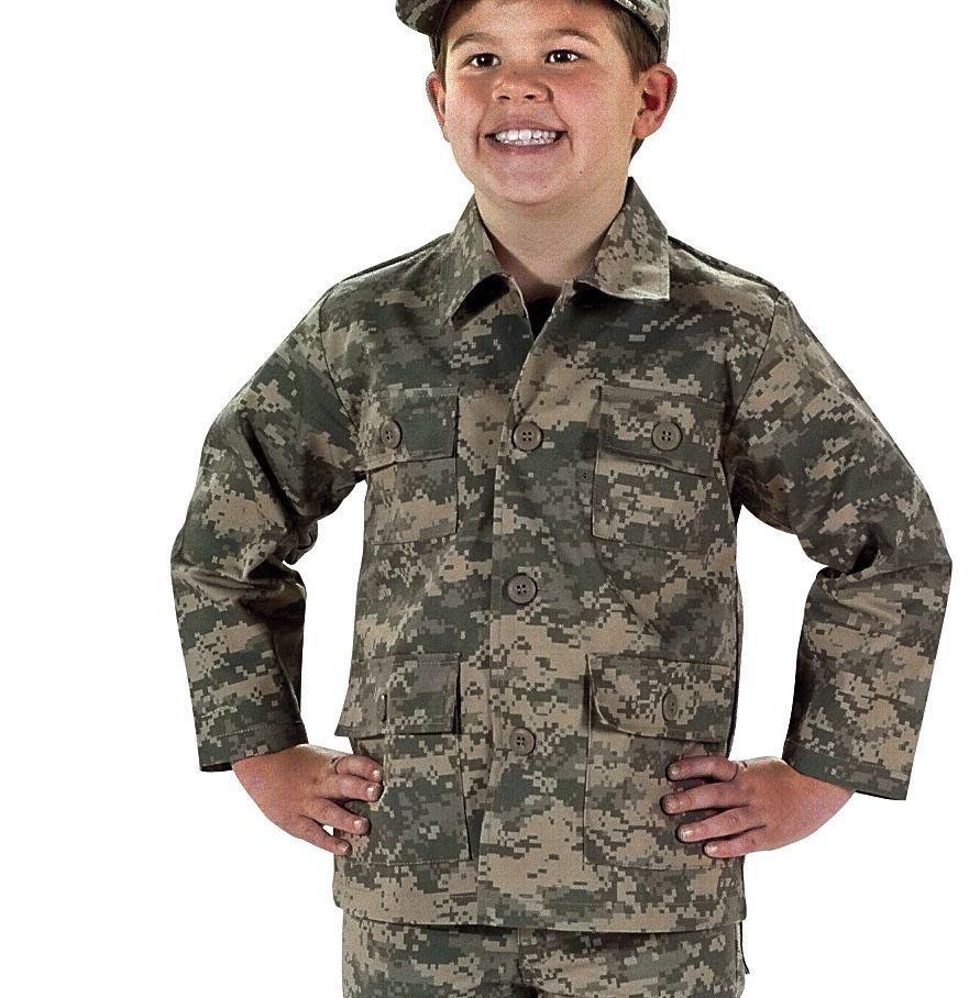 Kids Boys ACU Digital Camo Military Style BDU Airsoft Shirt Fatigues for sale  USA
