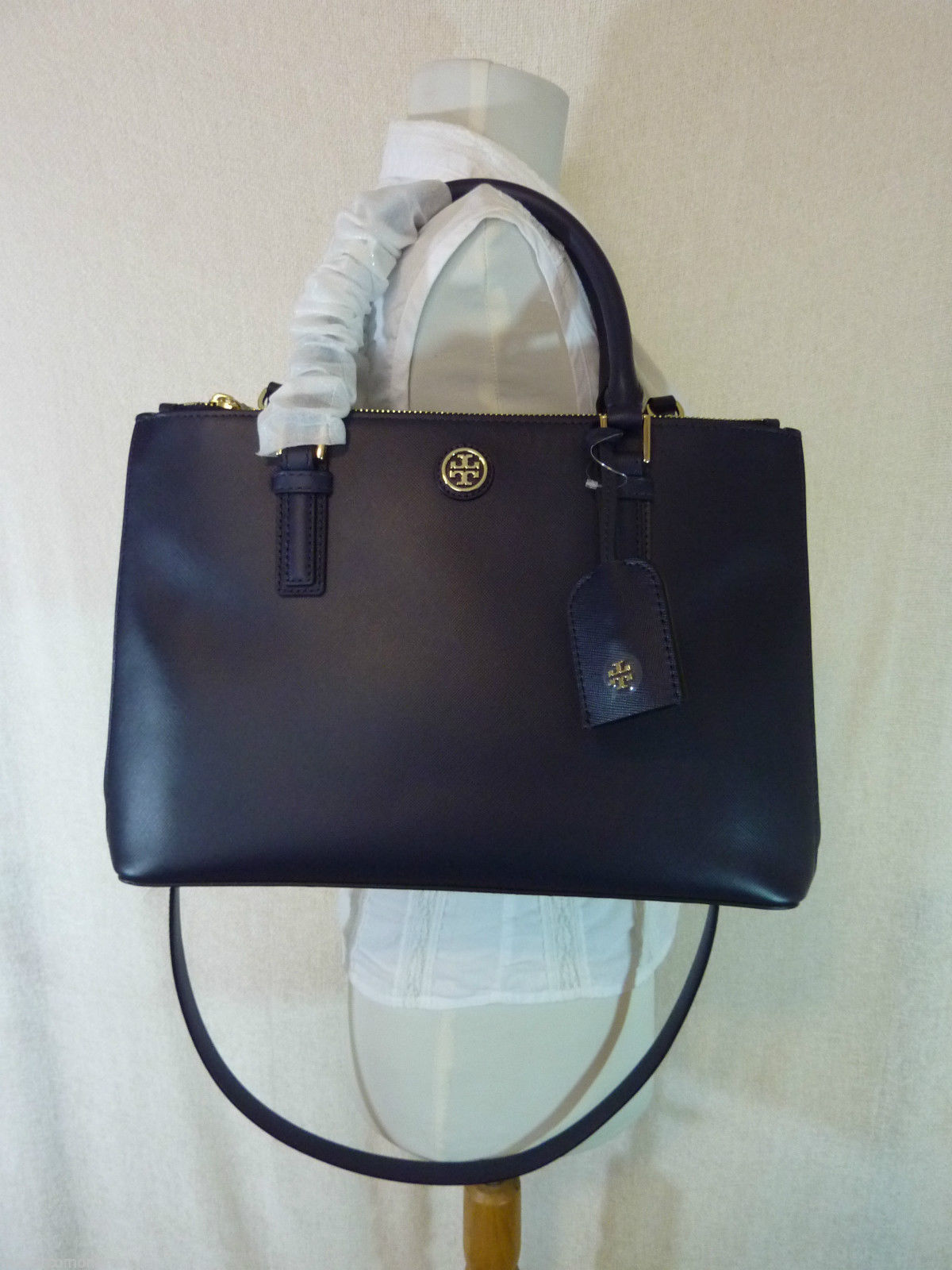 Primary image for Tory Burch Navy Blue Saffiano Leather Robinson Mini Double-Zip Tote