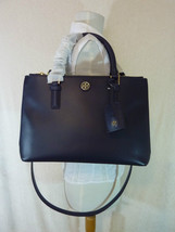 Tory Burch Navy Blue Saffiano Leather Robinson Mini Double-Zip Tote - $443.50