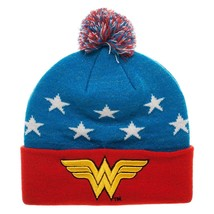 Wonder Woman Embroidered Winter Pom Beanie , Blue , One Size - $14.84